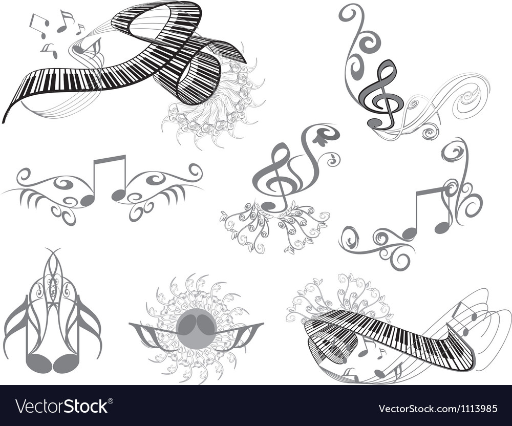 Music key notes vector | Price: 1 Credit (USD $1)