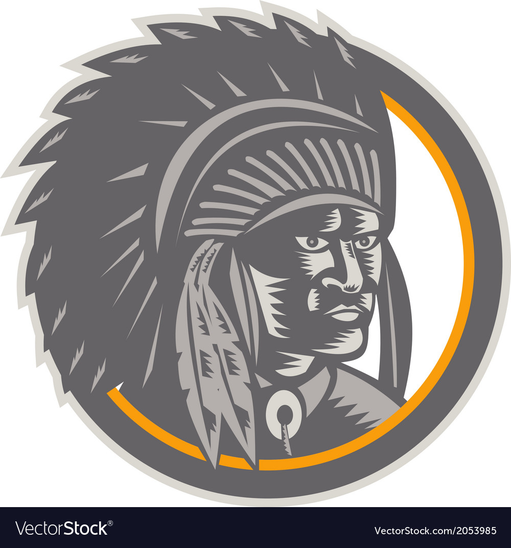 Native american indian chief head woodcut vector | Price: 1 Credit (USD $1)