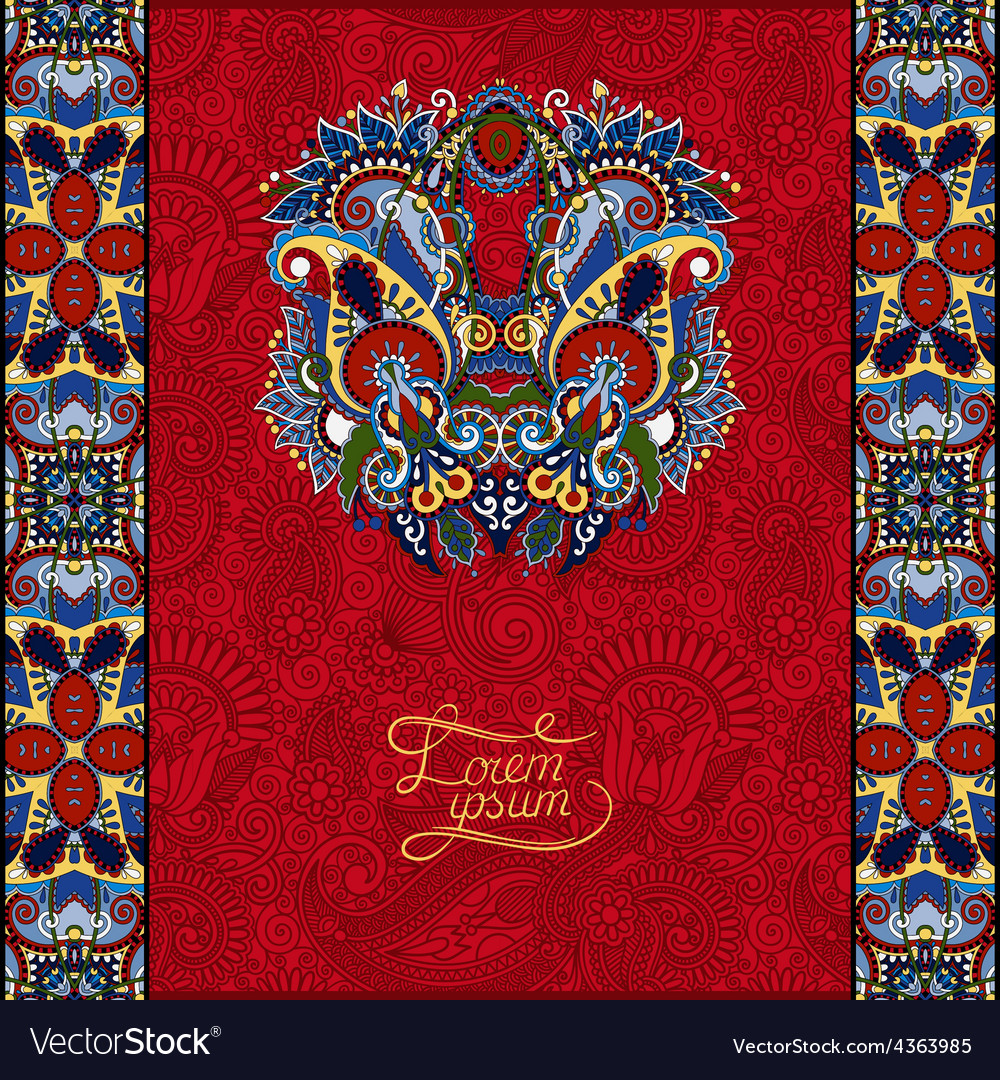 Red invitation card with neat ethnic background vector | Price: 1 Credit (USD $1)
