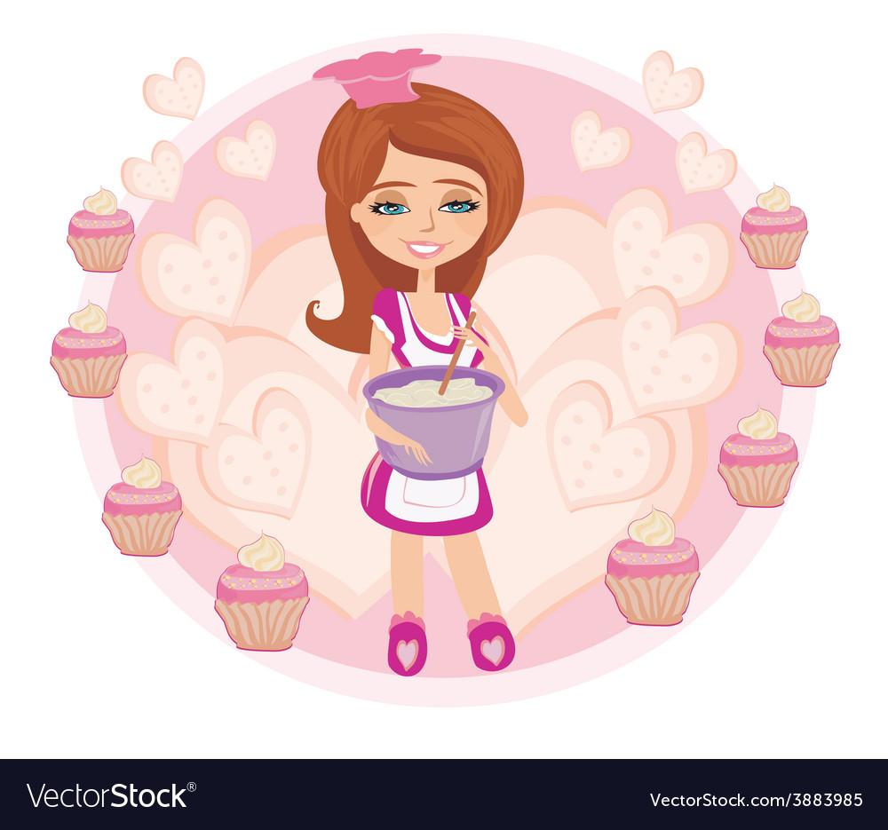 Retro kitchen girl vector | Price: 1 Credit (USD $1)