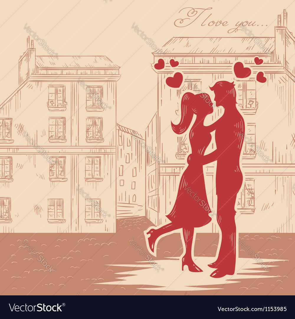 Romantic valentine retro postcard vector | Price: 1 Credit (USD $1)