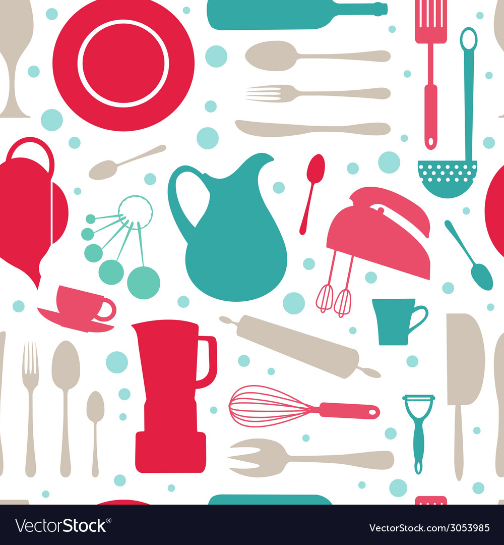 Seamless colorful kitchen pattern vector | Price: 1 Credit (USD $1)