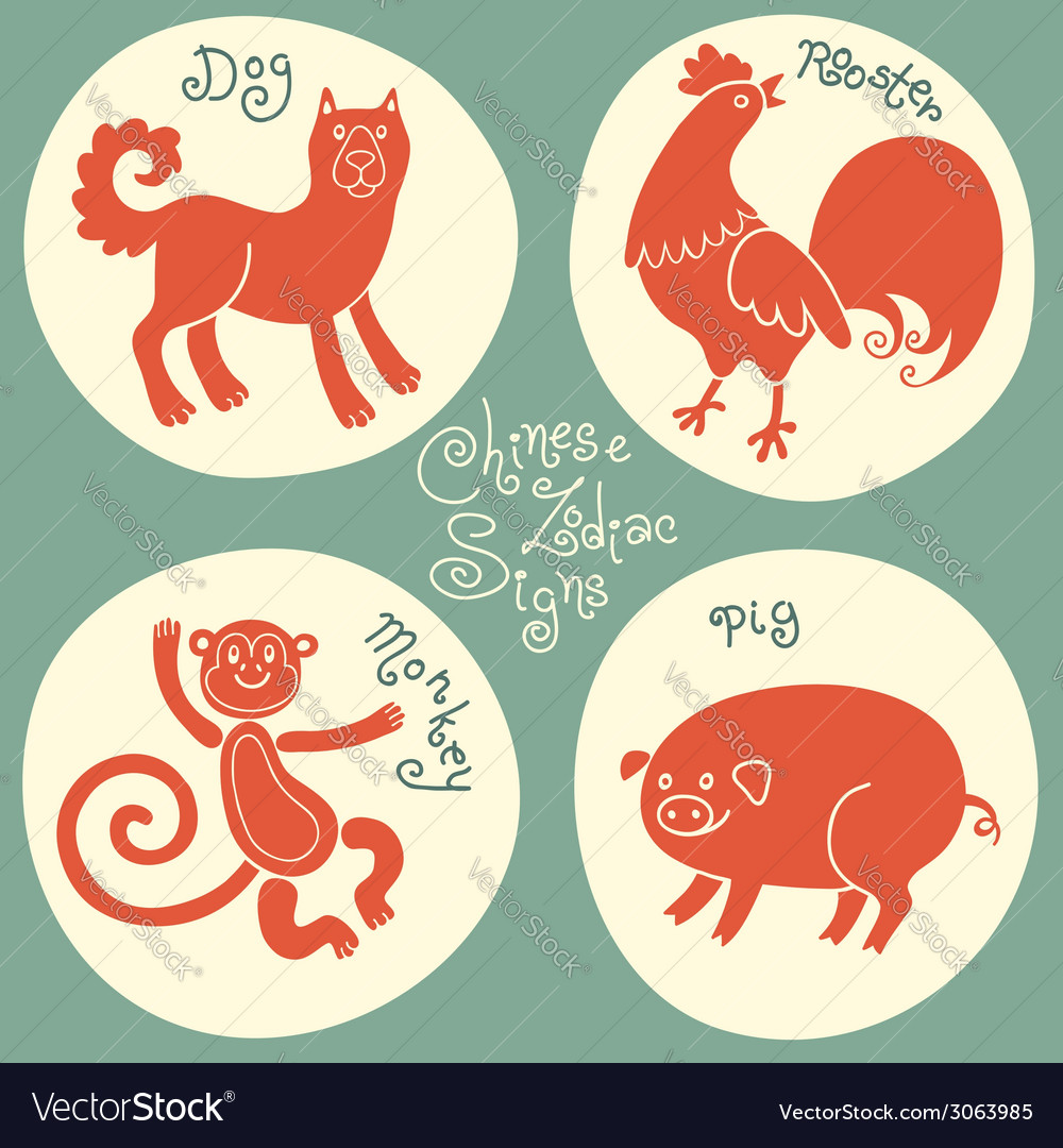 Set signs of the chinese zodiac vector | Price: 1 Credit (USD $1)