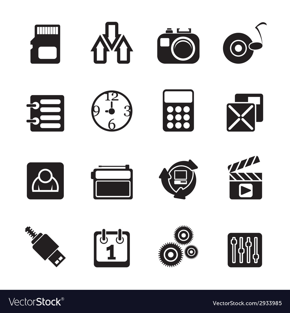 Silhouette internet and office icons vector | Price: 1 Credit (USD $1)
