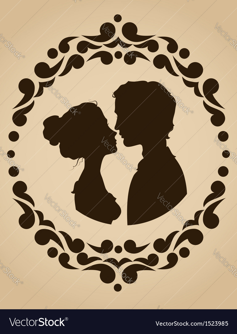 Silhouettes of kissing couple vector | Price: 1 Credit (USD $1)