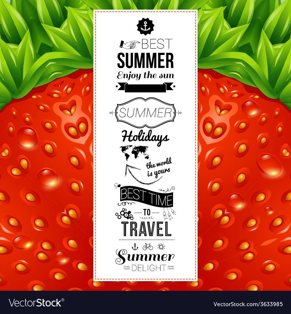 Summer poster optical strawberry background vector | Price: 1 Credit (USD $1)