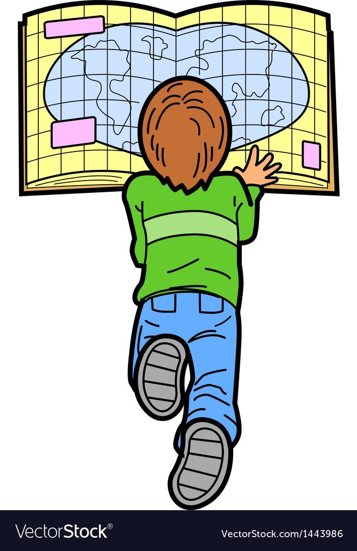 Boy reading map vector | Price: 1 Credit (USD $1)