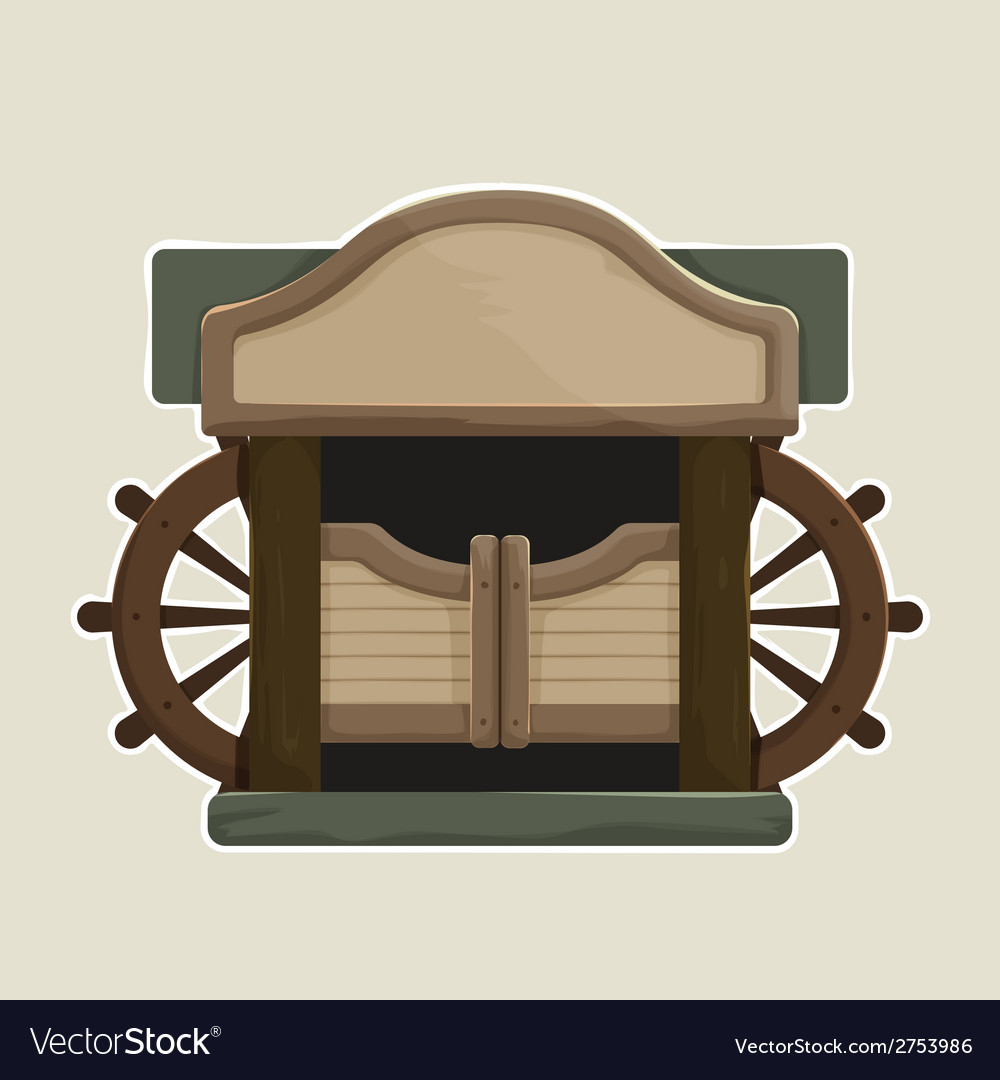 Cartoon styled old western swinging saloon doors vector | Price: 1 Credit (USD $1)