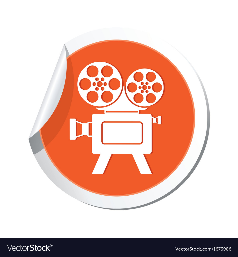 Cinema icon orange sticker vector | Price: 1 Credit (USD $1)