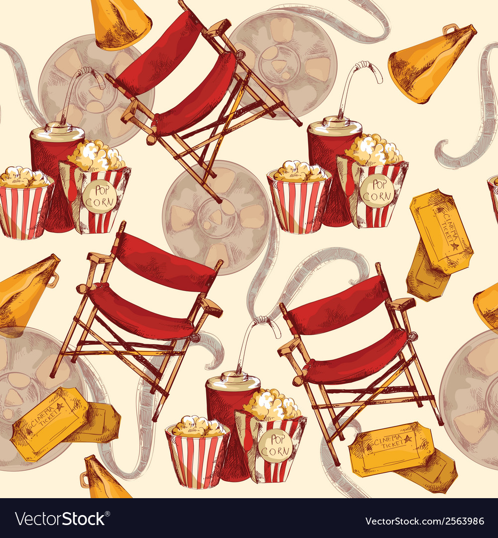 Cinema seamless background vector | Price: 1 Credit (USD $1)