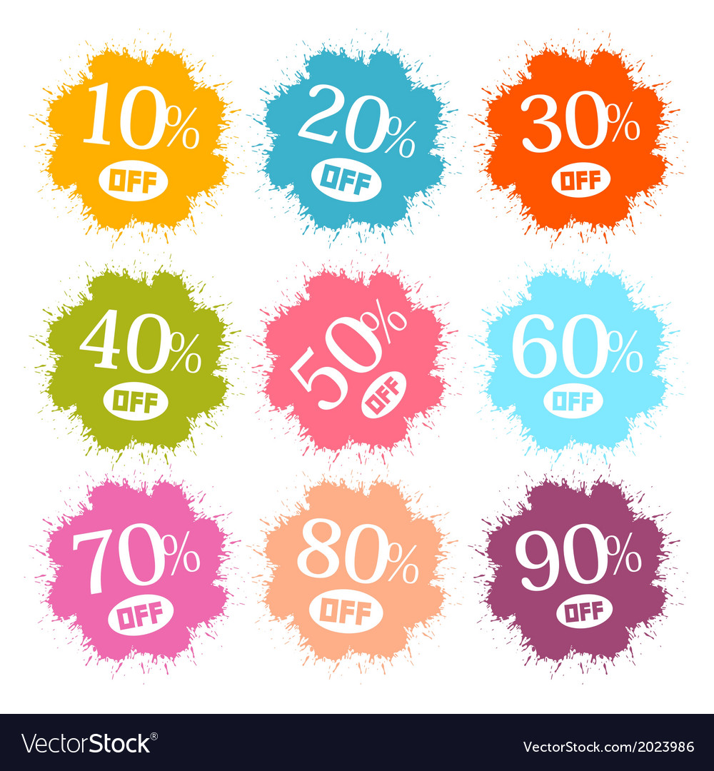 Colorful discount labels stains splashes vector   Price: 1 Credit (USD $1)