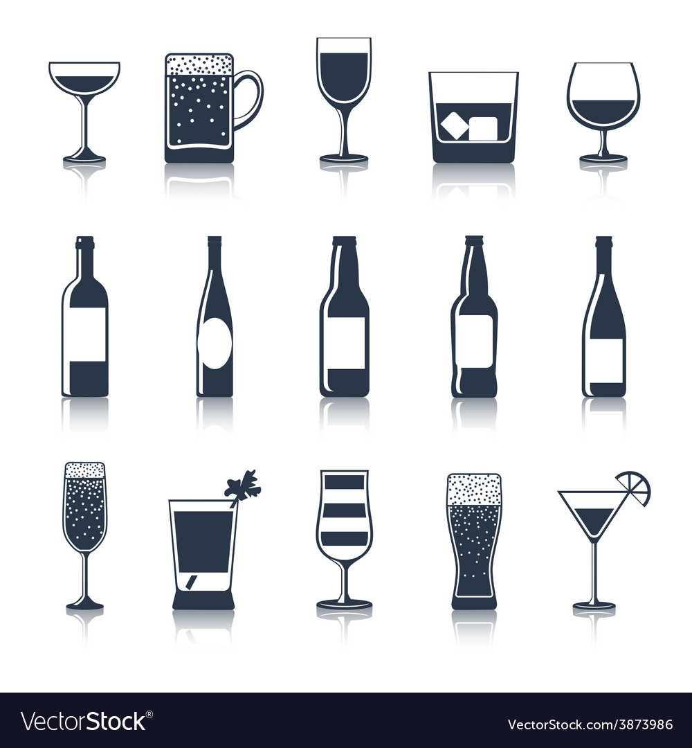 Drink icons black vector | Price: 1 Credit (USD $1)