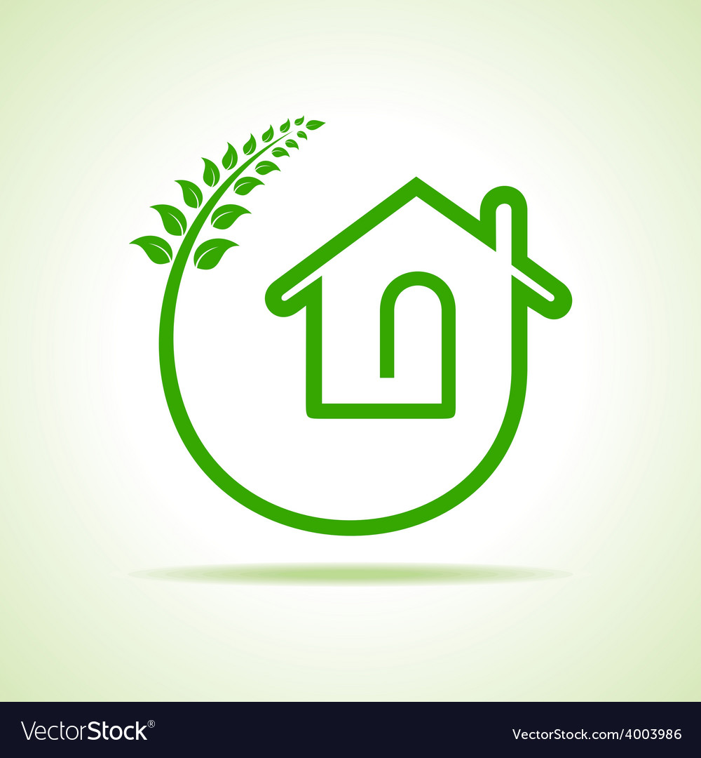 Eco home icon with leaves on white background vector | Price: 1 Credit (USD $1)