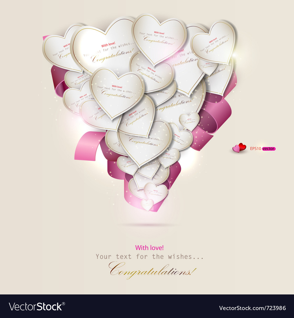 Elegant background with gift cards hearts vector | Price: 1 Credit (USD $1)