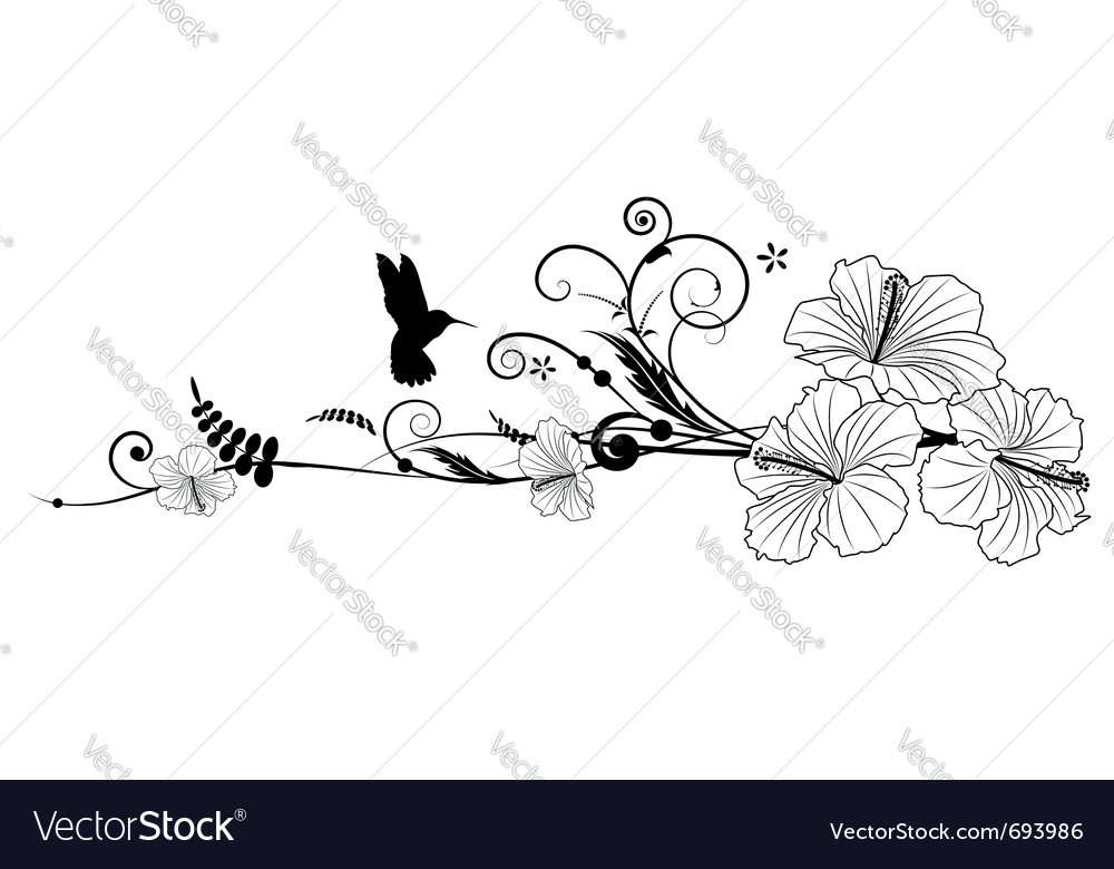 Floral composition with hibiscus vector