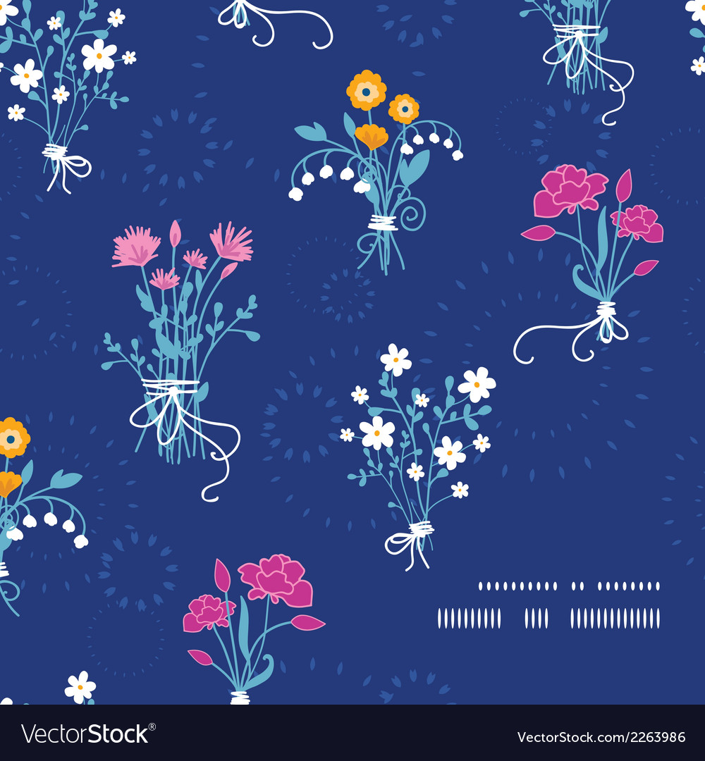Fresh flower bouquets frame corner pattern vector | Price: 1 Credit (USD $1)