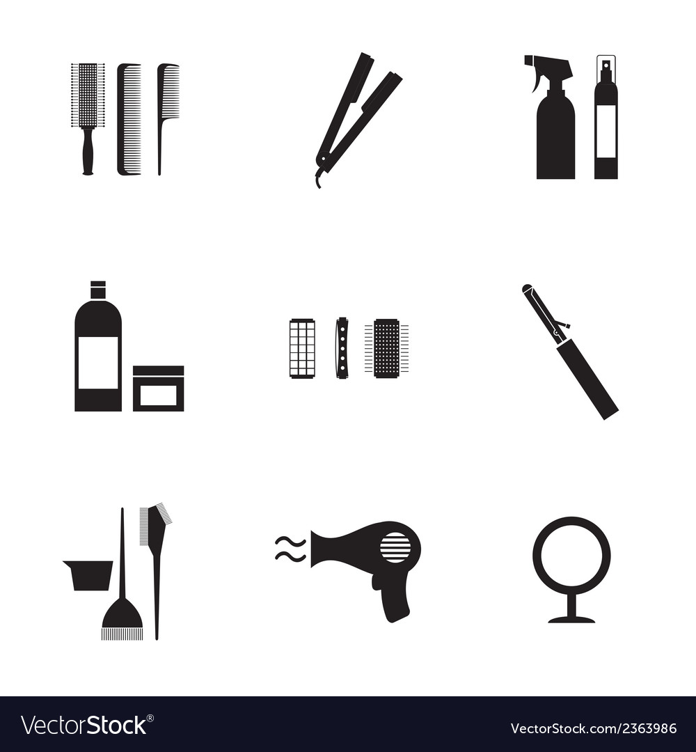 Hairdressing icons set 9 vector | Price: 1 Credit (USD $1)