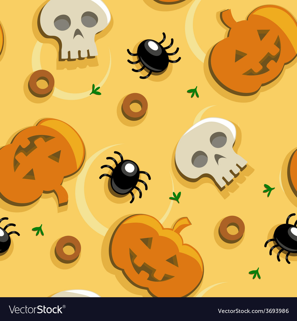 Halloween pizza seamless vector | Price: 1 Credit (USD $1)