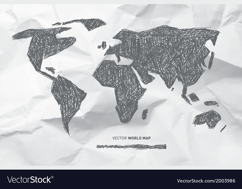 Hand drawn world map on crumpled paper background vector | Price: 1 Credit (USD $1)