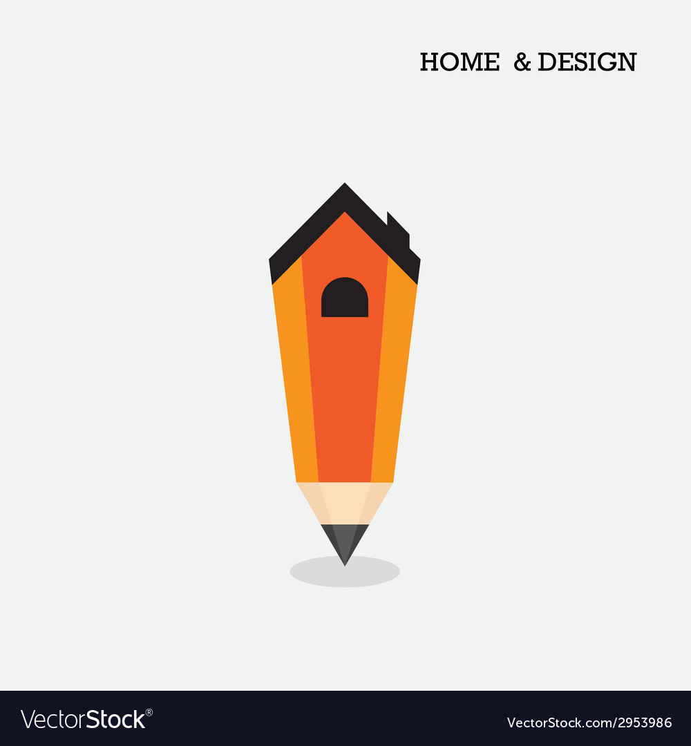 Home icon and pencil symbol in flat design style vector | Price: 1 Credit (USD $1)