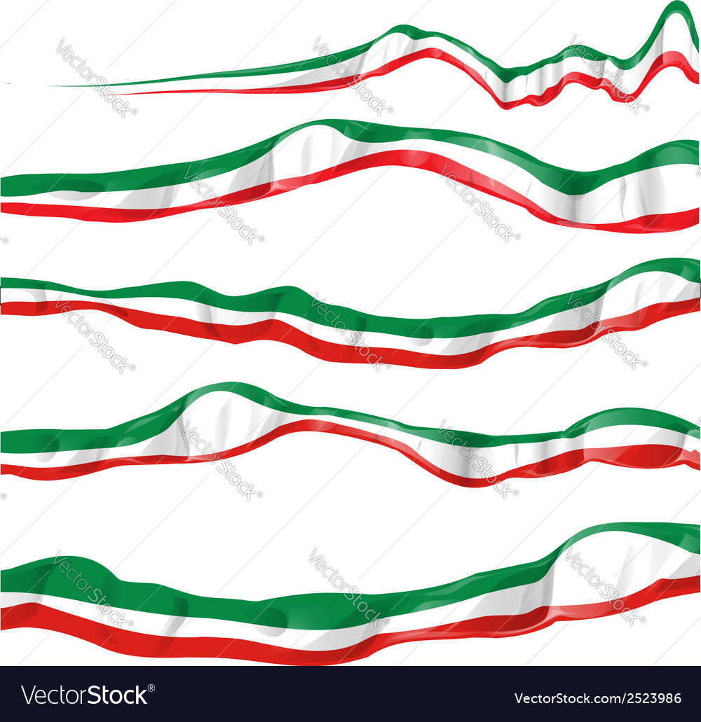 Italian flag set isolated vector | Price: 1 Credit (USD $1)