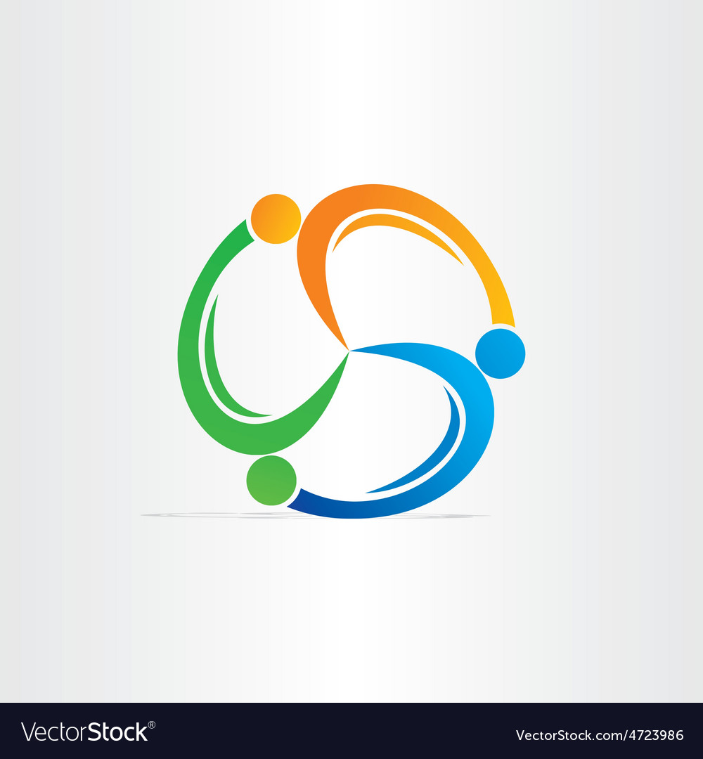 People in circle teamwork symbol vector | Price: 1 Credit (USD $1)