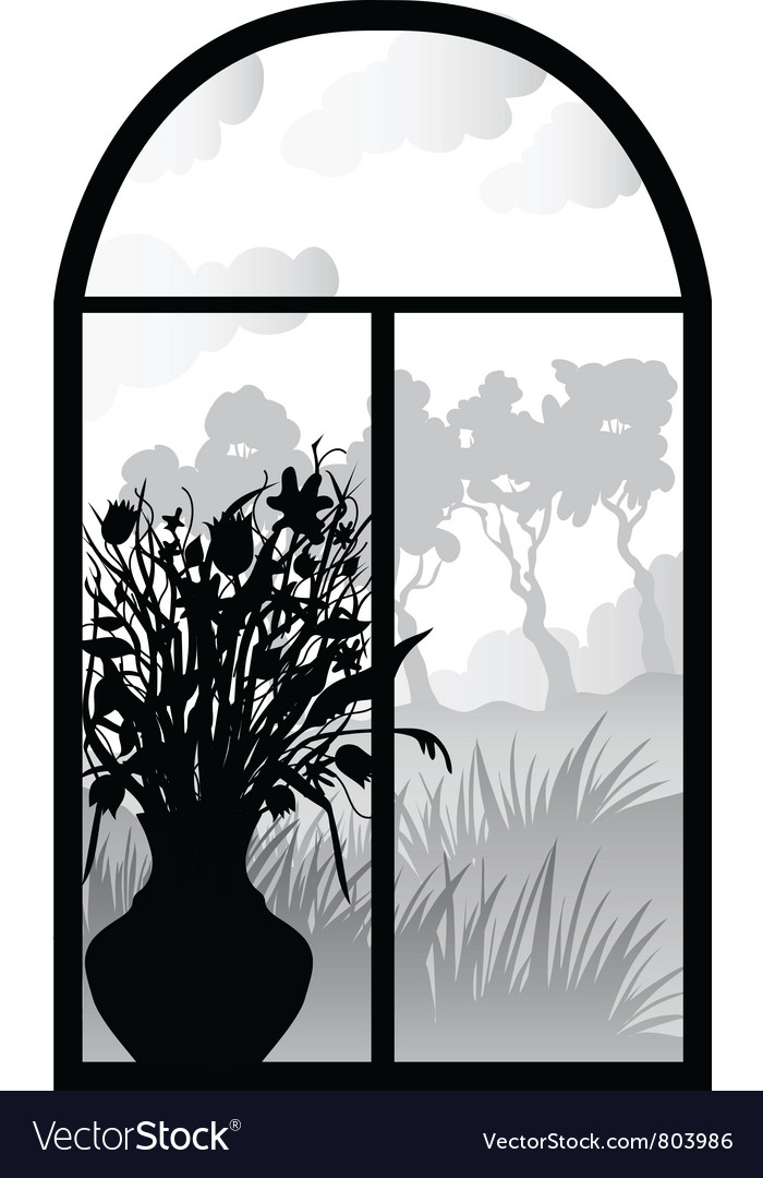 Silhouette of retro window vector | Price: 1 Credit (USD $1)