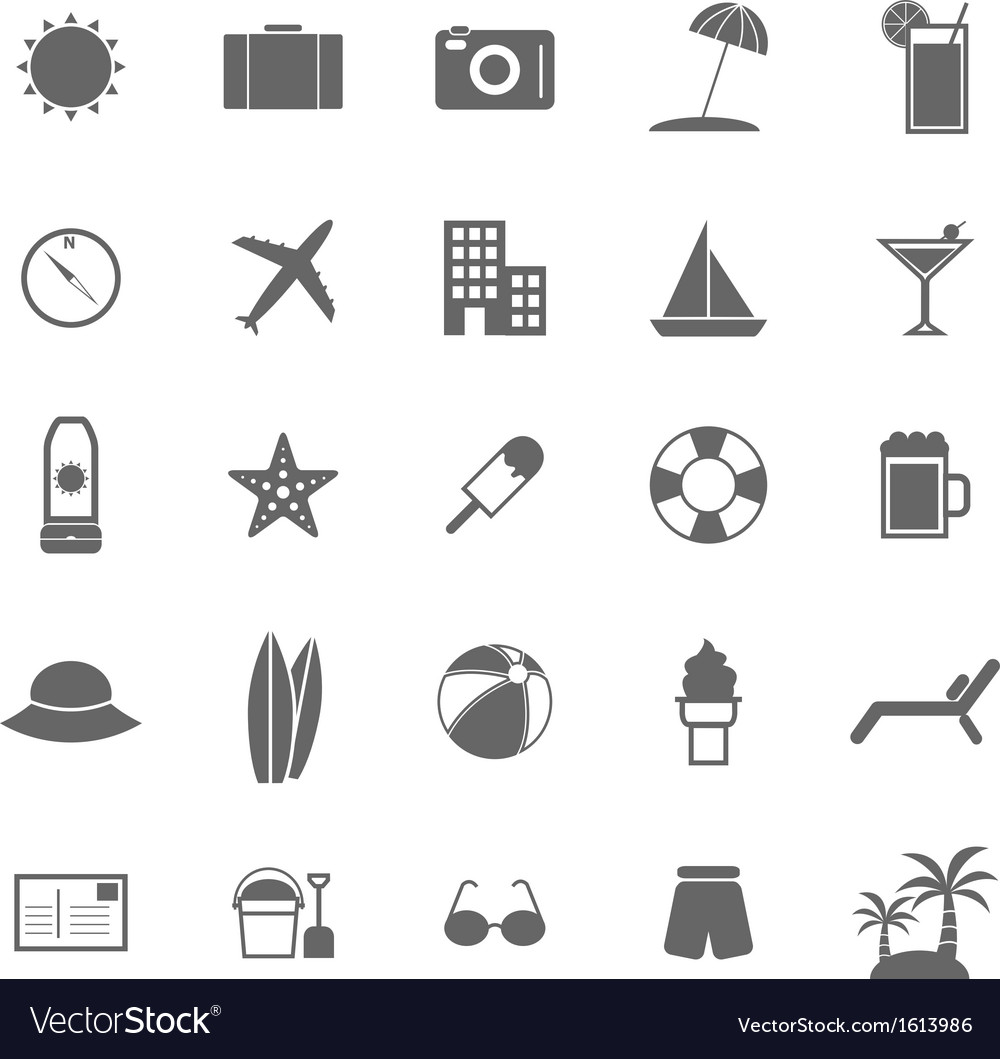 Summer icons on white background vector | Price: 1 Credit (USD $1)