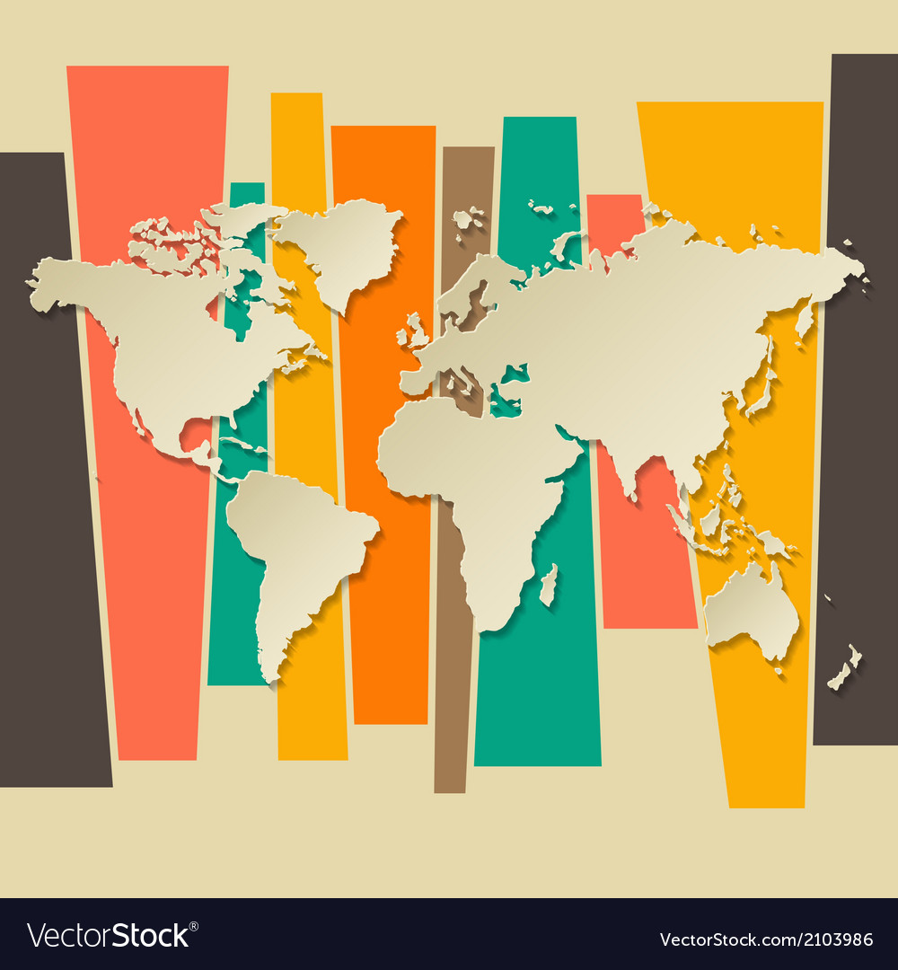 World map paper 3d retro background vector | Price: 1 Credit (USD $1)