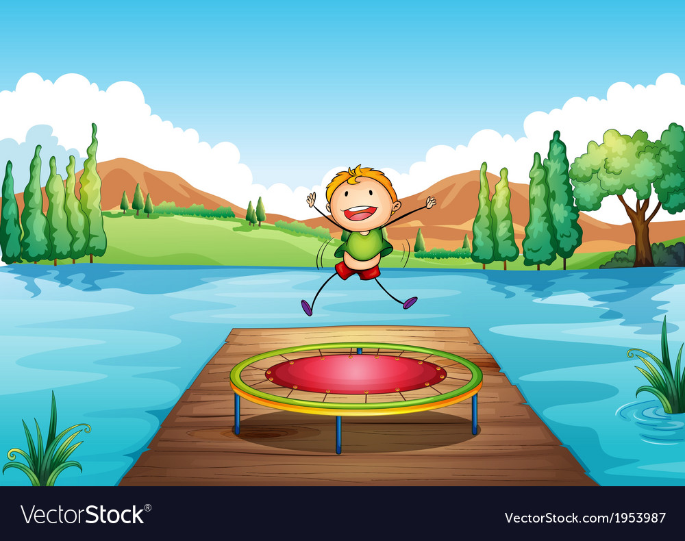 A boy playing with the trampoline at the river vector | Price: 1 Credit (USD $1)