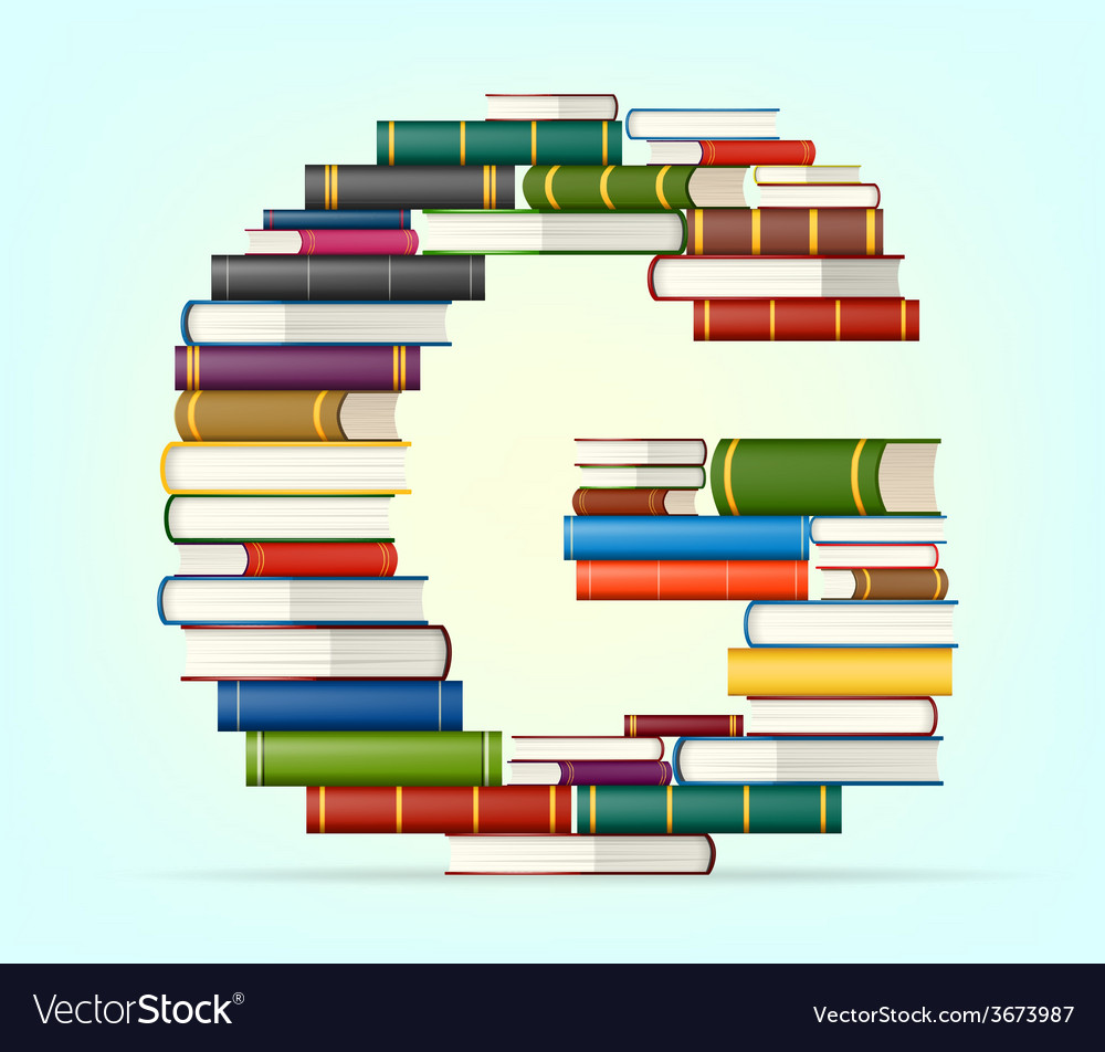Alphabet from stacks of multi colored books vector | Price: 1 Credit (USD $1)