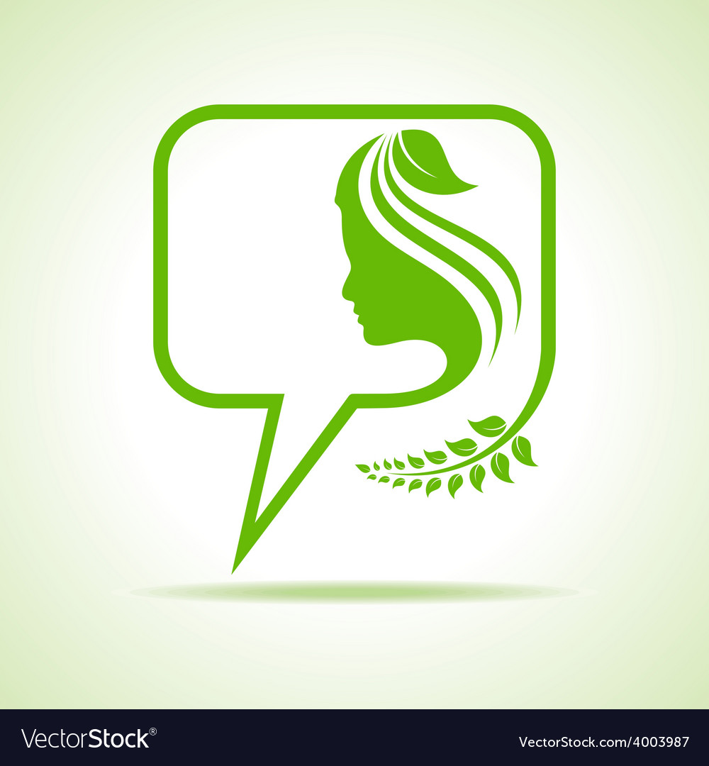 Eco message bubble icon with women face vector | Price: 1 Credit (USD $1)