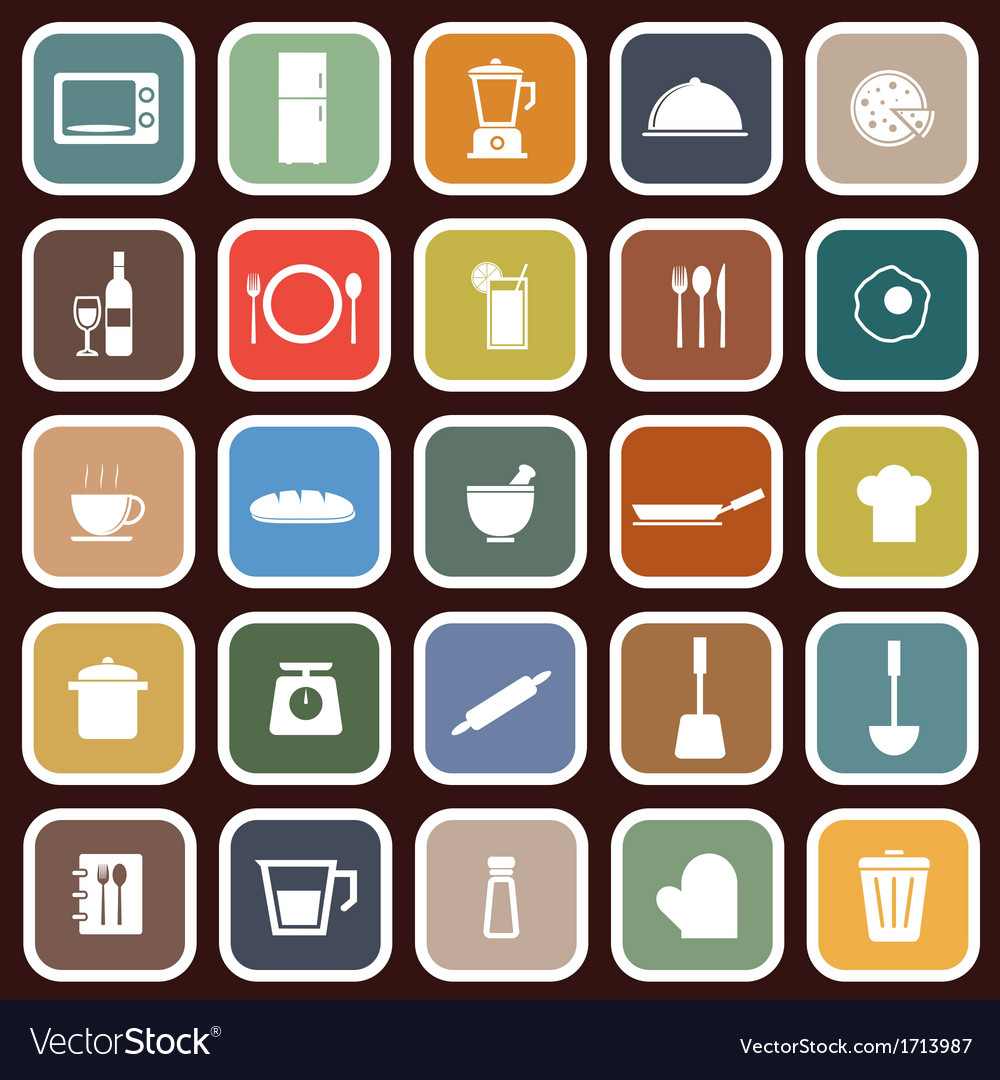 Kitchen flat icons on red background vector | Price: 1 Credit (USD $1)