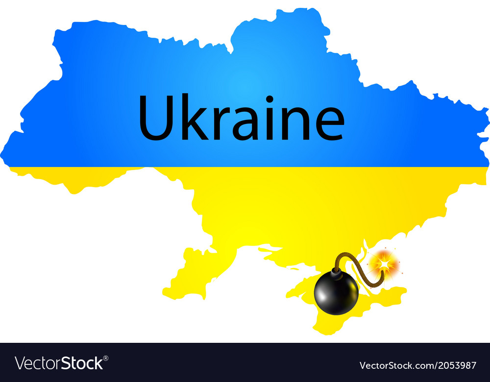 Map of ukraine in national flag colors with bomb vector | Price: 1 Credit (USD $1)