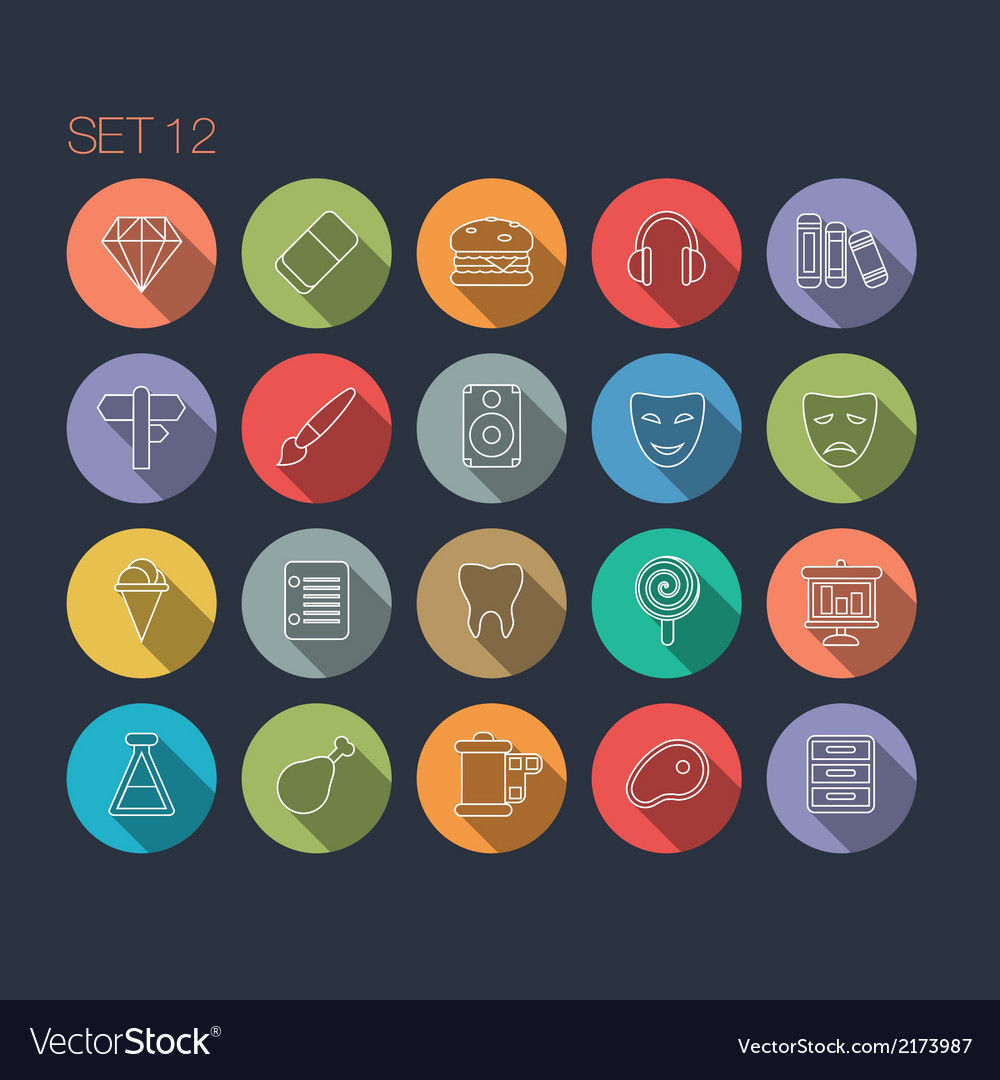 Round thin icon with shadow set 12 vector | Price: 1 Credit (USD $1)