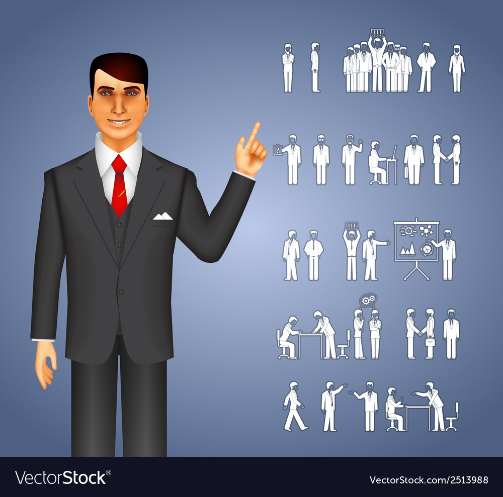 Businessman and peoples icons vector | Price: 1 Credit (USD $1)