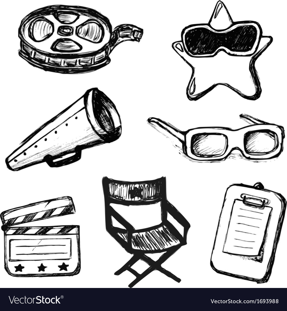 Cinema doodles icons vector | Price: 1 Credit (USD $1)