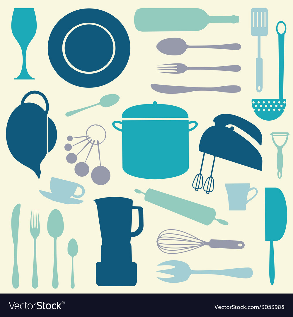 Colorful kitchen set vector | Price: 1 Credit (USD $1)