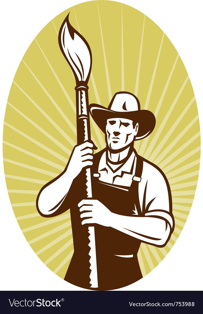 Cowboy painter holding a paint brush facing f vector | Price: 1 Credit (USD $1)
