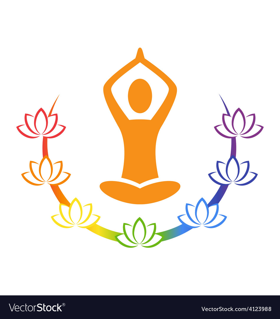 Emblem yoga pose with chakra lotuses isolated on vector | Price: 1 Credit (USD $1)