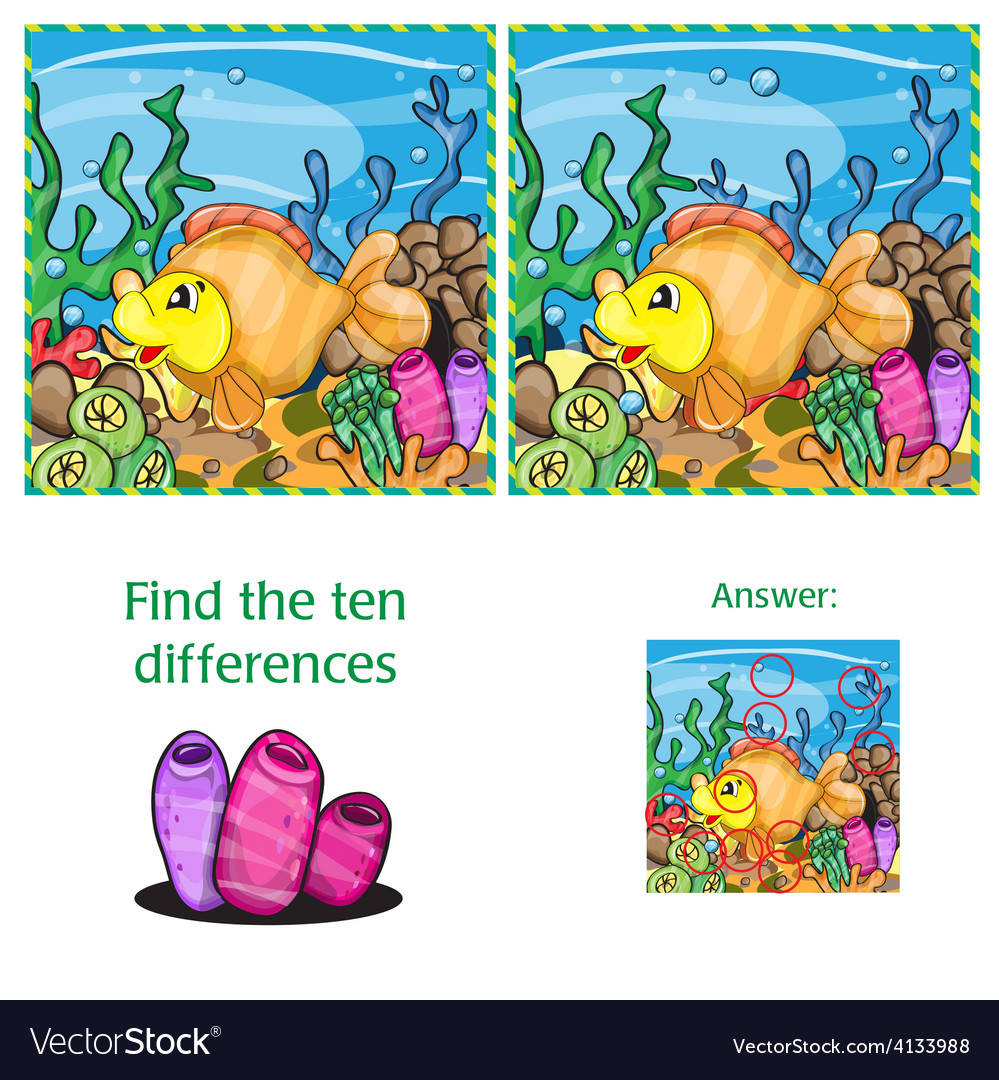 Find ten differences vector | Price: 3 Credit (USD $3)