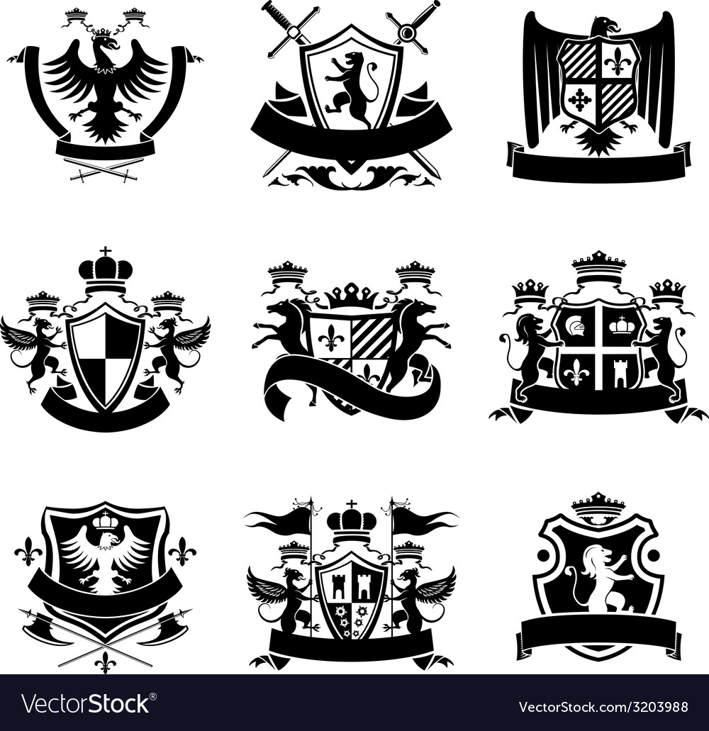 Heraldic emblems black vector | Price: 1 Credit (USD $1)