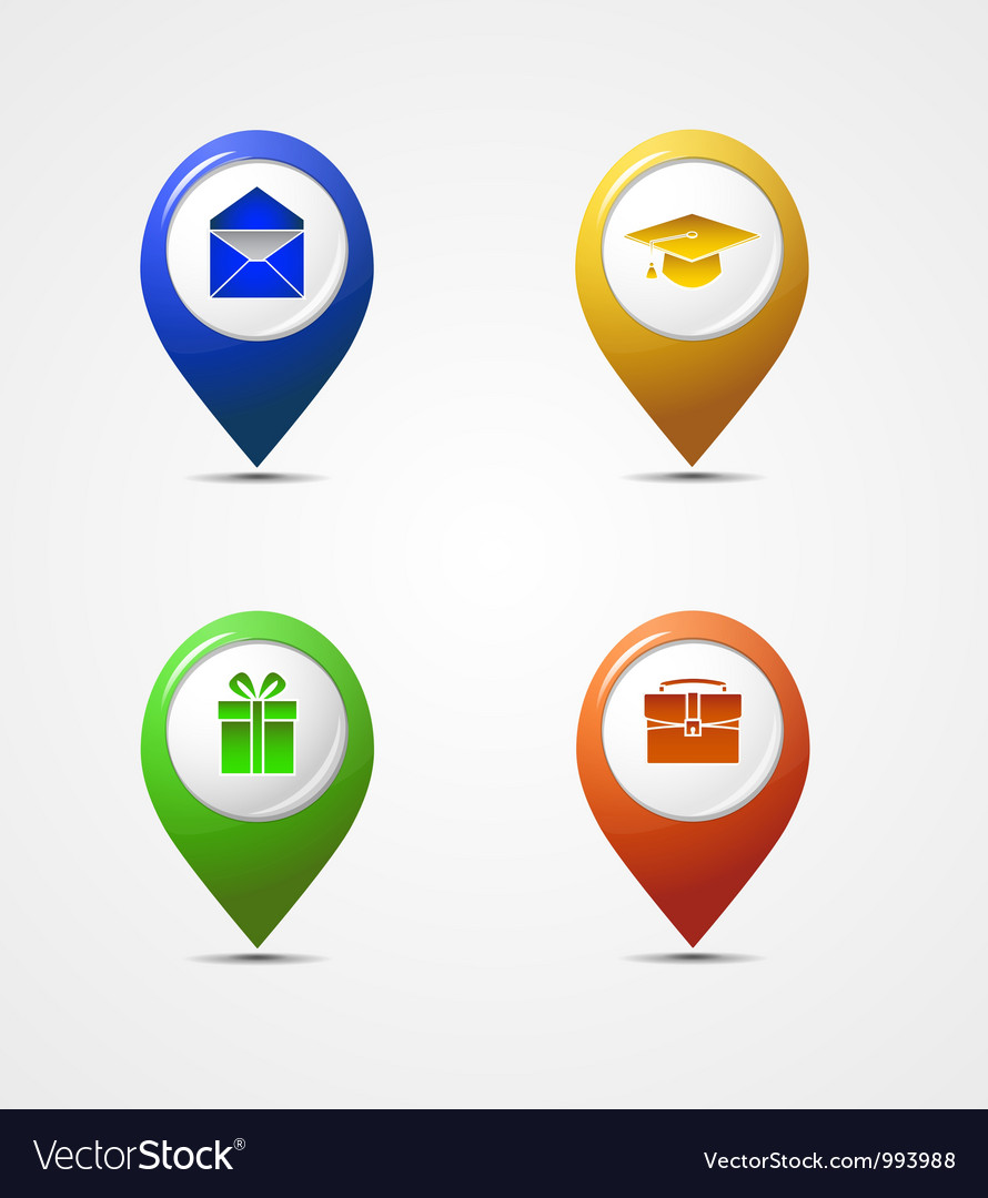 Map pointer icons vector | Price: 1 Credit (USD $1)