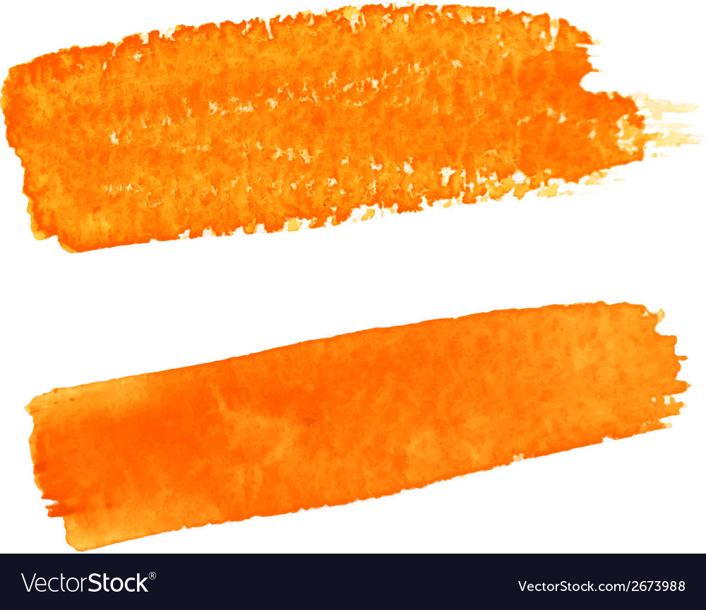 Set of orange watercolor brush strokes vector | Price: 1 Credit (USD $1)