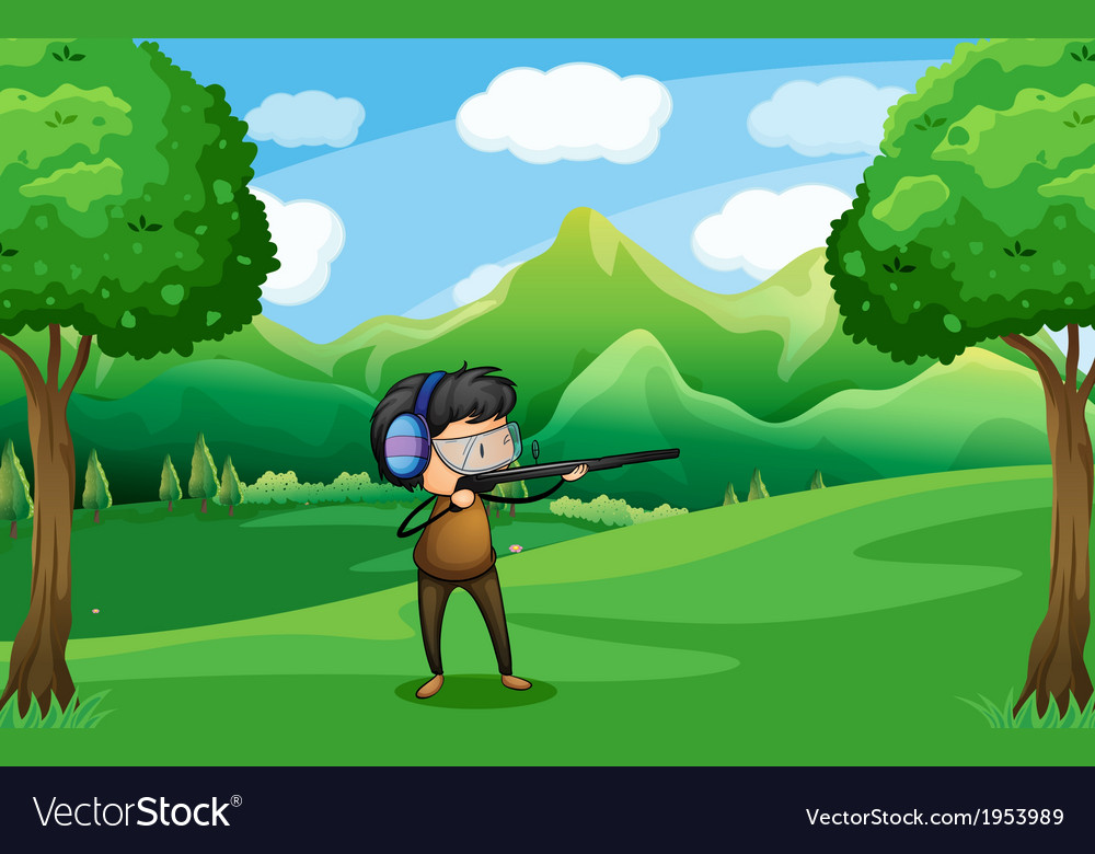 A man with a gun at the forest vector | Price: 1 Credit (USD $1)