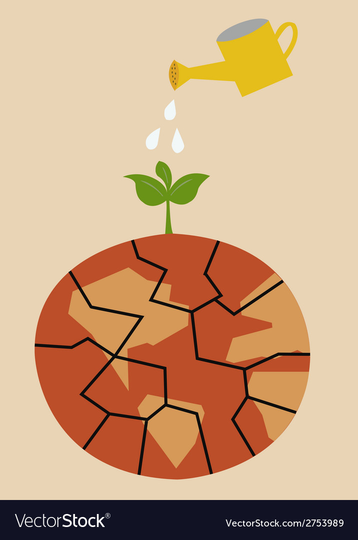 Cracked heated earth and green sprout which grows vector | Price: 1 Credit (USD $1)
