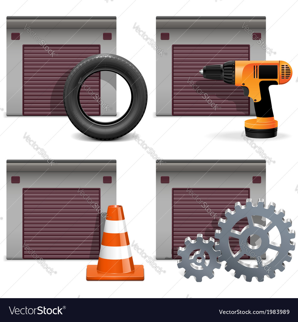 Garage icons set 2 vector | Price: 1 Credit (USD $1)