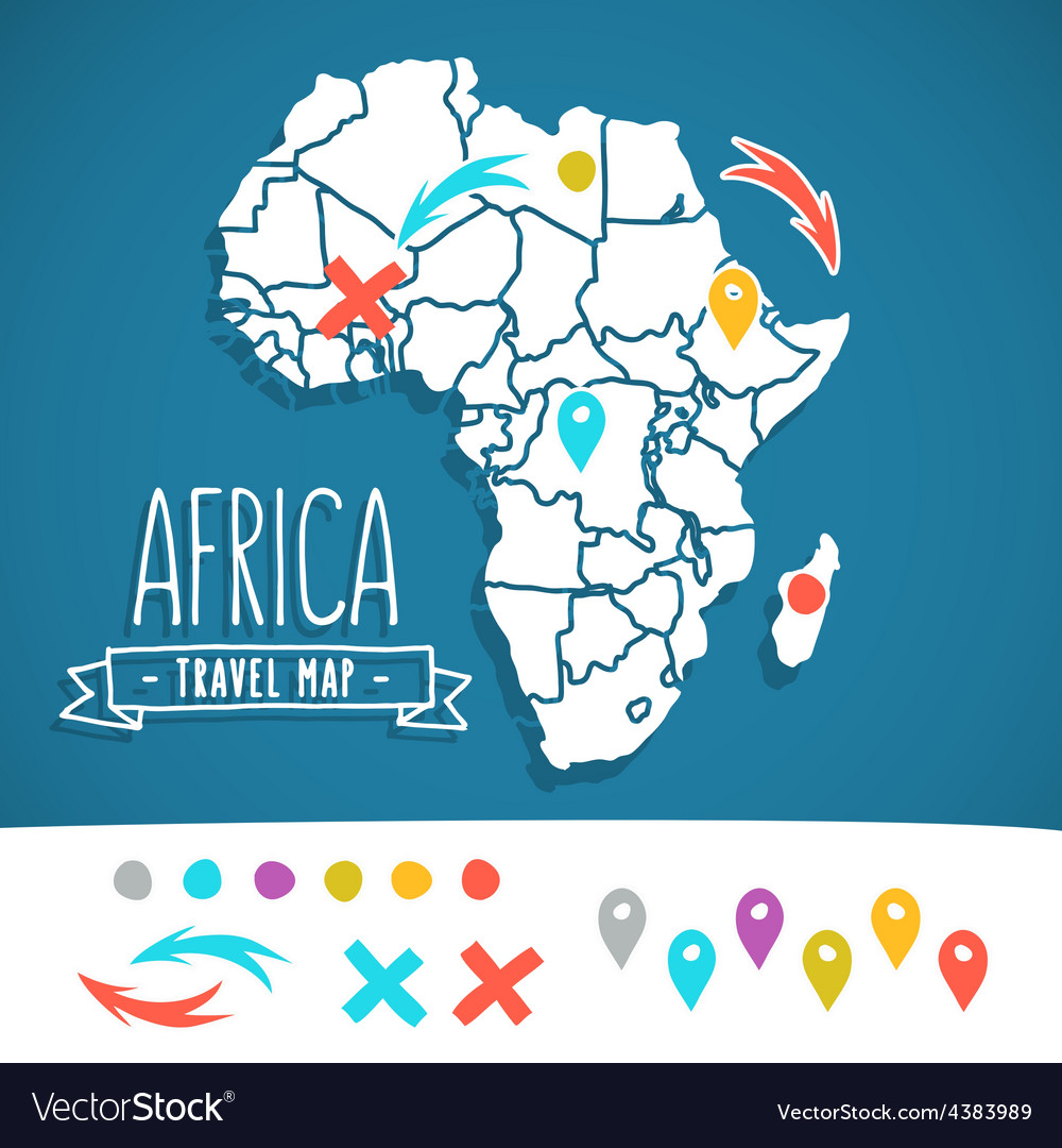 Hand drawn africa travel map with pins vector | Price: 1 Credit (USD $1)