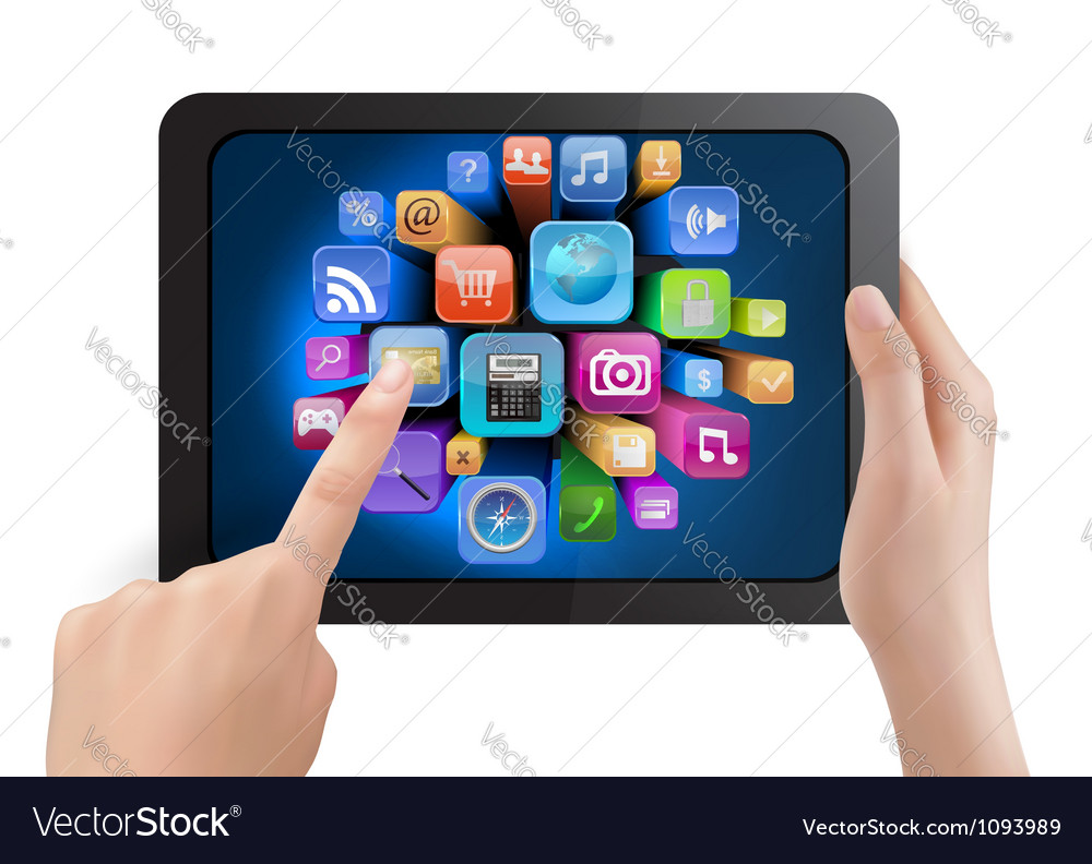 Hand holding touch pad tablet vector | Price: 3 Credit (USD $3)