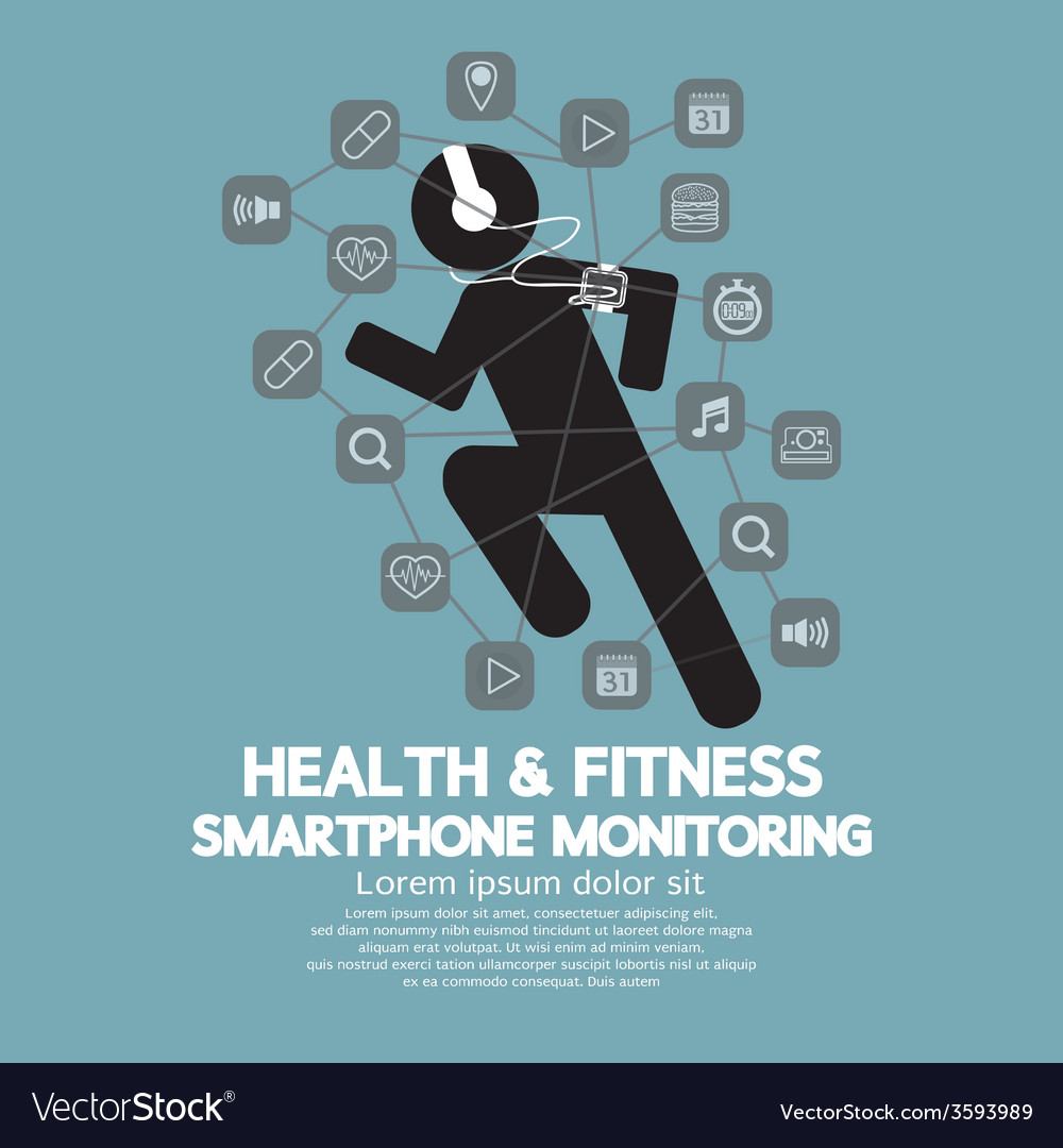 Health and fitness smartphone monitoring vector | Price: 1 Credit (USD $1)